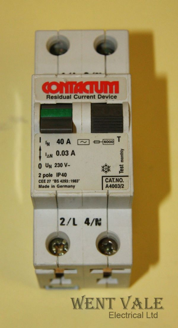Contactum A4003/2 - 40a 30mA Double Pole RCD Used